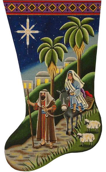 To Bethlehem Hand Painted Stocking Canvas from Rebecca Wood