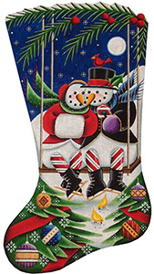 Swinging Christmas Hand Painted Stocking Canvas from Rebecca Wood
