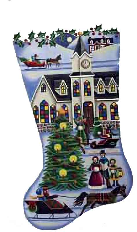 Town Square Christmas Hand Painted Stocking Canvas from Rebecca Wood