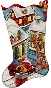 Up on the Roof Hand Painted Stocking Canvas from Rebecca Wood