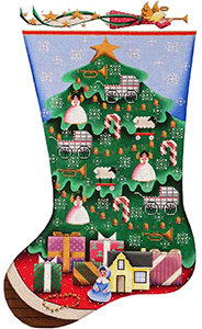 Doll Tree Hand Painted Stocking Canvas from Rebecca Wood