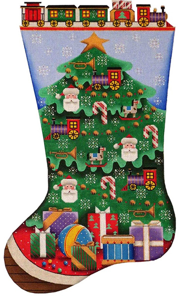 Train Tree Hand Painted Stocking Canvas from Rebecca Wood