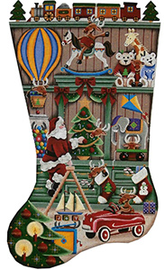 In the Toy Shop Hand Painted Stocking Canvas from Rebecca Wood Designs