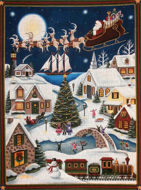 Here Comes Santa Full Panel Hand Painted Canvas from Rebecca Wood