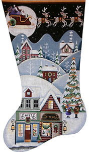 Sweet Shop Village Hand Painted Stocking Canvas from Rebecca Wood