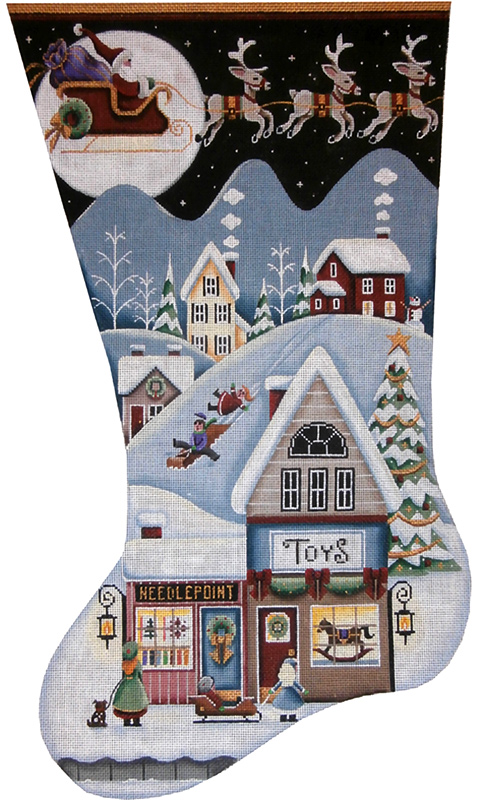Toy Shop Village Hand Painted Stocking Canvas from Rebecca Wood
