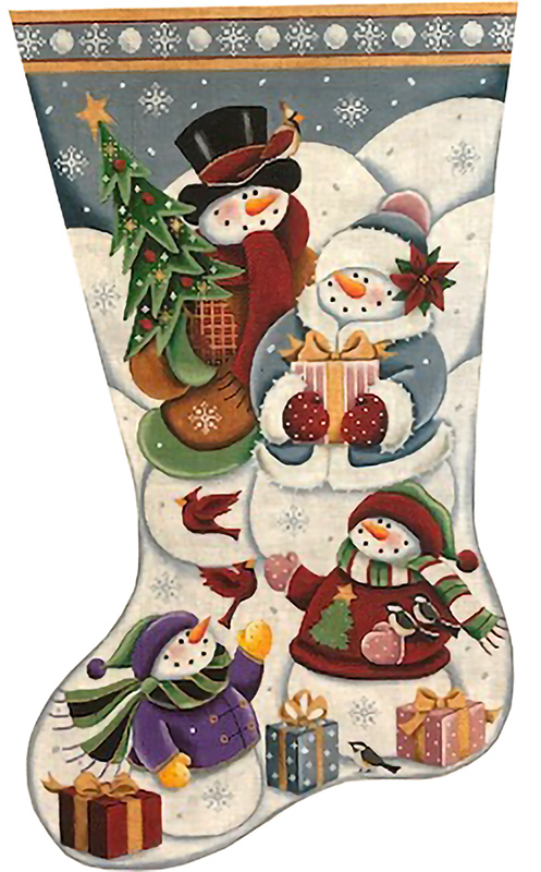 Christmas at the Frostie's Hand Painted Stocking Canvas from Rebecca Wood