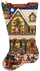 Reindeer Games Hand Painted Stocking Canvas from Rebecca Wood