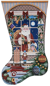 Christmas Wishes Boy Hand Painted Stocking Canvas from Rebecca Wood