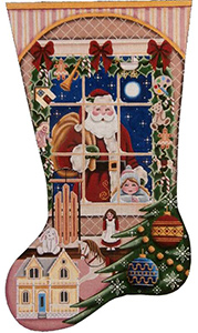 Christmas Wishes Girl Hand Painted Stocking Canvas from Rebecca Wood