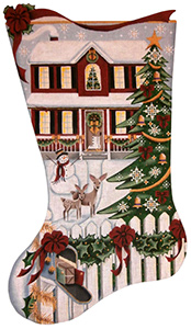 Christmas Day Red House Hand Painted Stocking Canvas from Rebecca Wood