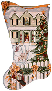 Christmas Day Green House Hand Painted Stocking Canvas from Rebecca Wood
