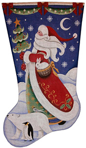 Polar Santa Hand Painted Stocking Canvas from Rebecca Wood