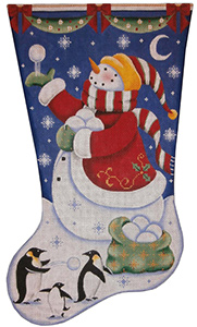 Snowballs (Christmas Penguins Hand Painted Stocking Canvas from Rebecca Wood