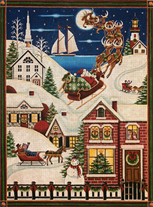 Christmas in the Village Hand Painted Canvas from Rebecca Wood