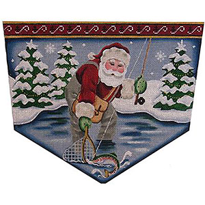 Fly Fishing Santa Hand Painted Stocking Topper Canvas from Rebecca Wood