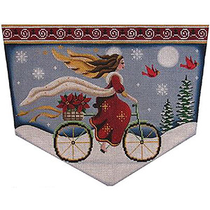 Bicycle Angel Hand Painted Stocking Topper Canvas from Rebecca Wood