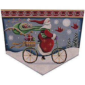 Bicycle Santa Hand Painted Stocking Topper Canvas from Rebecca Wood