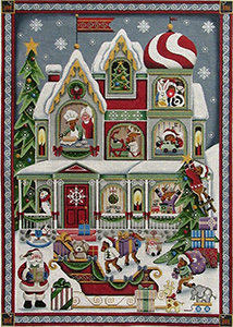 Santa's Helpers Full Panel Hand Painted Canvas from Rebecca Wood