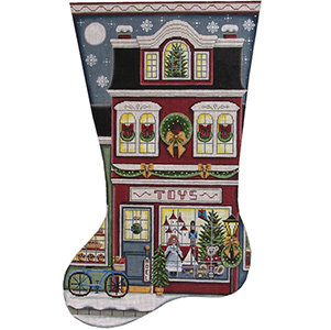 Toy Shop Red Hand Painted Stocking Canvas from Rebecca Wood