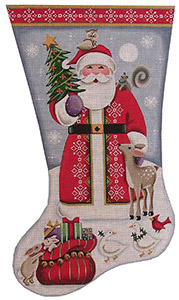 Forest Friends Santa Hand Painted Stocking Canvas from Rebecca Wood
