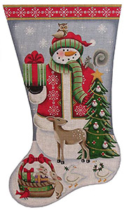 Forest Friends Snowman Hand Painted Stocking Canvas from Rebecca Wood