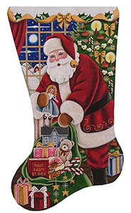 Girls Christmas Hand Painted Stocking Canvas from Rebecca Wood