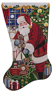 Boys Christmas Hand Painted Stocking Canvas from Rebecca Wood