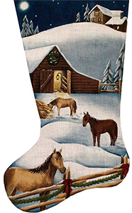 Christmas Barn Hand Painted Stocking Canvas from Rebecca Wood