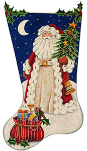Old Father Christmas Hand Painted Stocking Canvas from Rebecca Wood