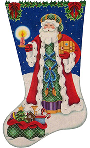Father Christmas Hand Painted Stocking Canvas from Rebecca Wood