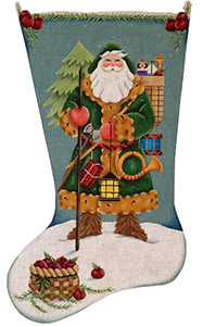 German Santa Hand Painted Stocking Canvas from Rebecca Wood