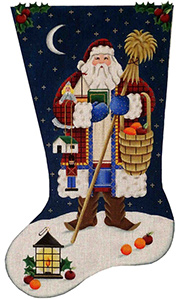 Swedish Santa Hand Painted Stocking Canvas from Rebecca Wood