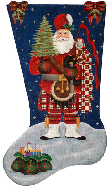 Scottish Santa Hand Painted Stocking Canvas from Rebecca Wood