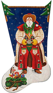 Cowboy Santa Hand Painted Stocking Canvas from Rebecca Wood