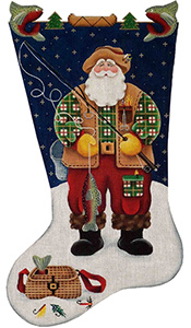 Fishing Santa Hand Painted Stocking Canvas from Rebecca Wood