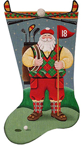 Golfing Santa Hand Painted Stocking Canvas from Rebecca Wood
