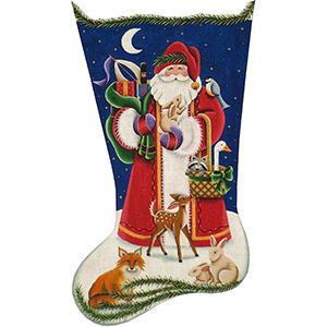 Woodland Santa Hand Painted Stocking Canvas from Rebecca Wood