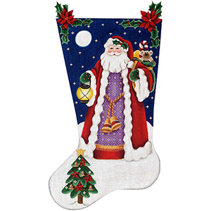 Yule Tide Santa Hand Painted Stocking Canvas from Rebecca Wood