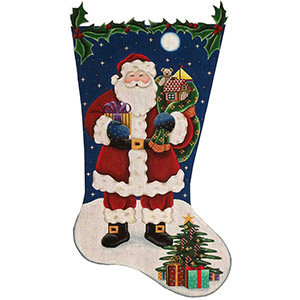 Traditional Santa Hand Painted Stocking Canvas from Rebecca Wood 18 Count, Toe Right