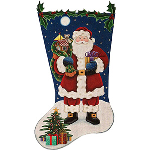 Traditional Santa Hand Painted Stocking Canvas from Rebecca Wood