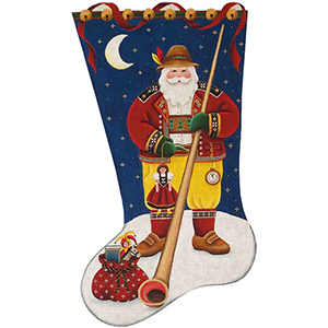Swiss Santa Hand Painted Stocking Canvas from Rebecca Wood