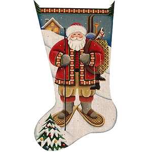 Alpine Santa Hand Painted Stocking Canvas from Rebecca Wood