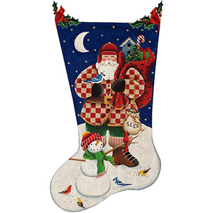 Bird Watcher Santa Hand Painted Stocking Canvas from Rebecca Wood