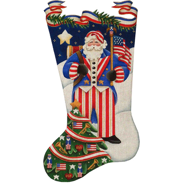 Patriotic Santa Hand Painted Stocking Canvas from Rebecca Wood