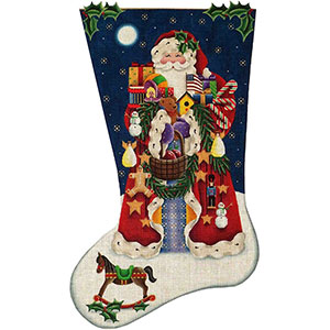 Americana Santa Hand Painted Stocking Canvas from Rebecca Wood
