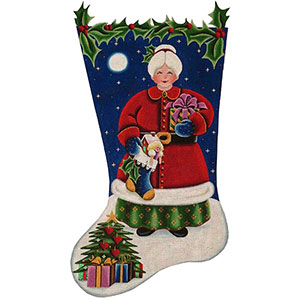 Mrs. Clause Hand Painted Stocking Canvas from Rebecca Wood