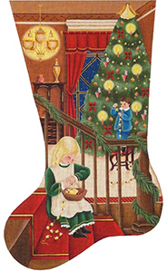 Popcorn and Berries Hand Painted Stocking Canvas from Rebecca Wood