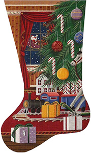 Christmas Train Hand Painted Stocking Canvas from Rebecca Wood