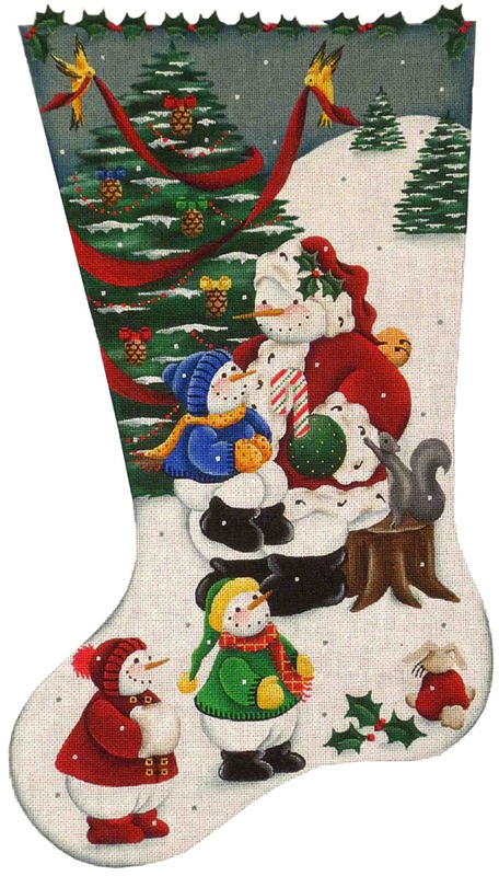 Snowman Santa Hand Painted Stocking Canvas from Rebecca Wood